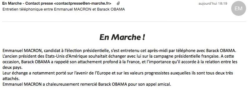 C'est #Obama qui 'souhaitait échanger' avec #Macron. Et pas l'inverse hein ! Bien reçu ? :) #CEstPeutEtreUnDetailPourVous