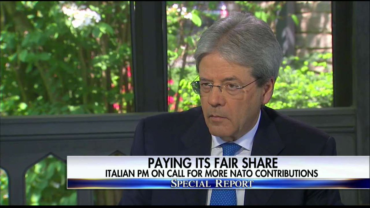Italian PM on @POTUS's call for Italy to spend 2% of its GDP on NATO: 'It's legitimate.' #SpecialReport