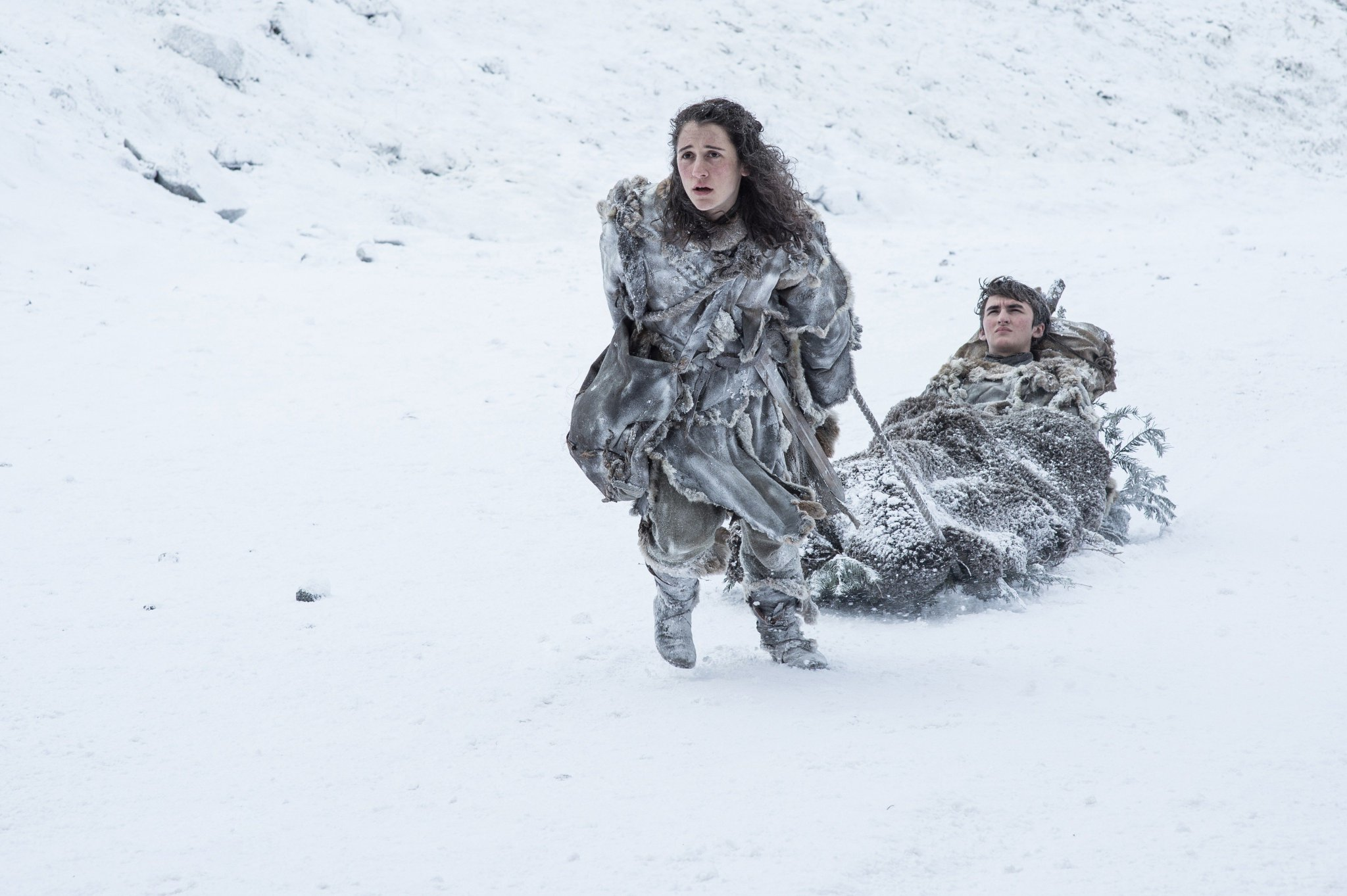 Ellie Kendrick as Meera Reed and @Issac_H_Wright as Bran Stark. #GoTS7 #GameofThrones (Photo Helen: Sloan/HBO) https://t.co/DqmNvpn1Pn