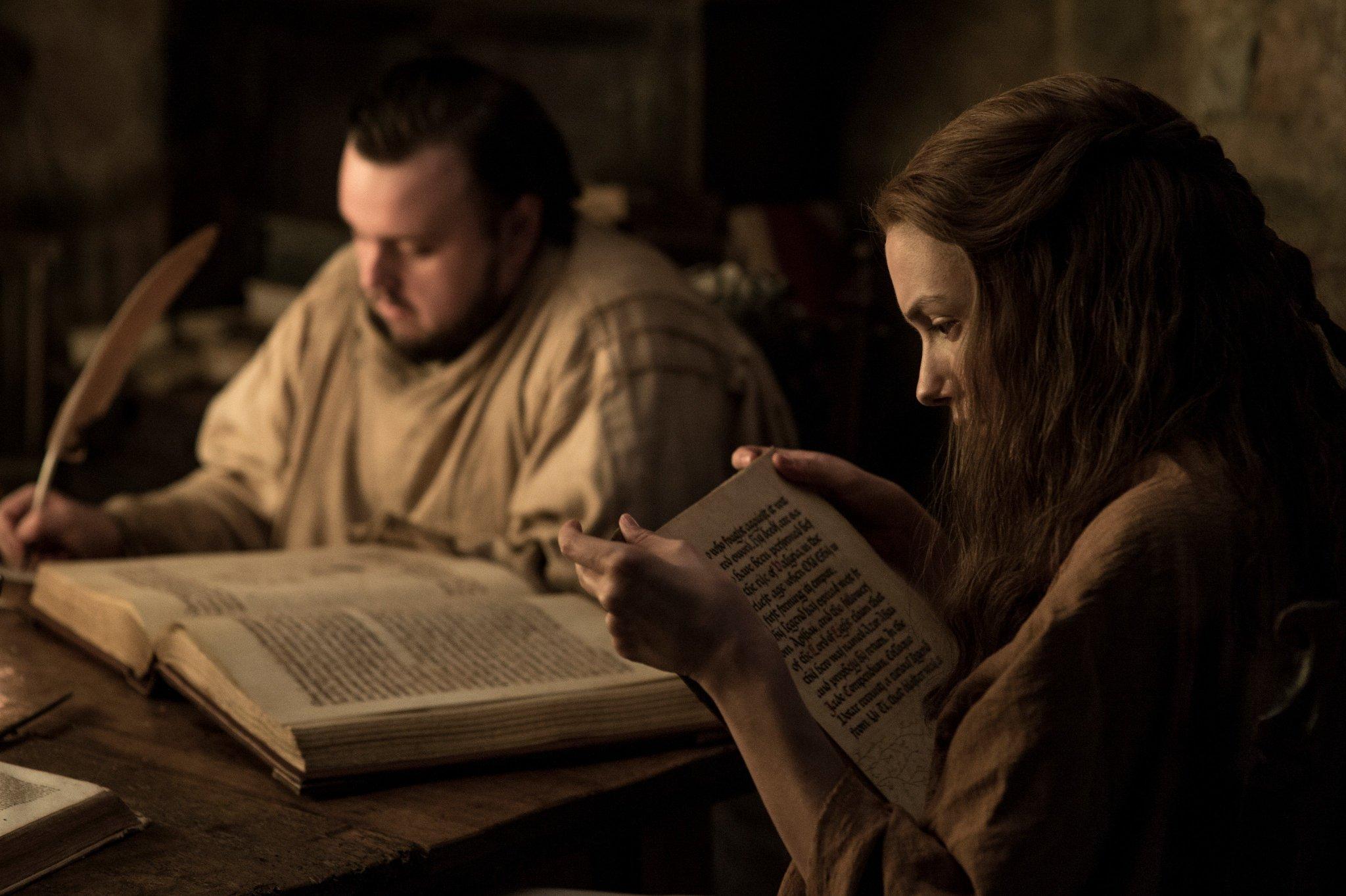 John Bradley as Samwell Tarly and Hannah Murray as Gilly. #GoTS7 #GameofThrones (Photo Helen: Sloan/HBO) https://t.co/RtPyaQd7yo