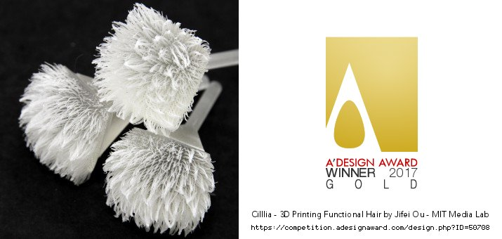 Cilllia, @OUJIFEI @tangible_media's 3D-printed hair project, has been awarded A'Design Awards in 2 categories! https://t.co/sUrPabk1Y6