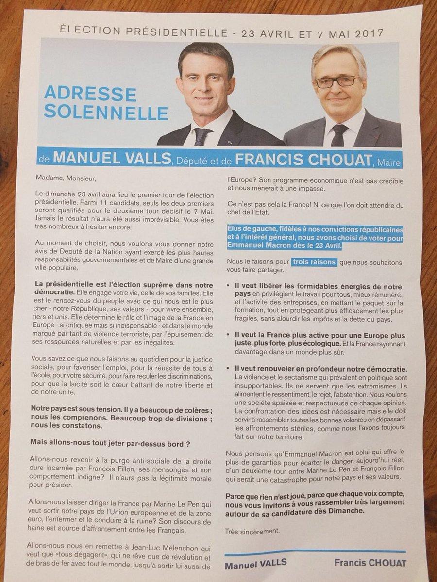 [DOC]La lettre de soutien de #Valls à #Macron (...qui ne veut pas de lui) aux habitants d'Evry.  Pas un mot sur Hamon (Via @mathlescientist)