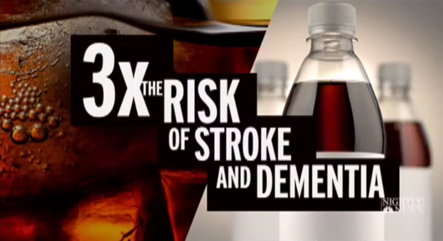 Diet sodas raise risk of dementia and stroke, study suggests.@DrJohnTorres has details now on @NBCNightlyNews.