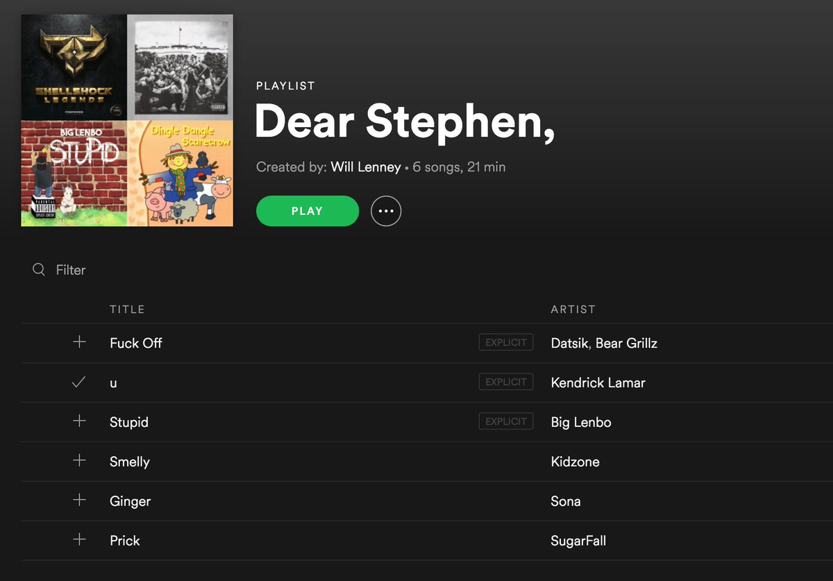 RT @Will__NE: I made my crush a spotify playlist to tell them my feelings 😌😌 @StephenTries https://t.co/oqp5nqiSk7