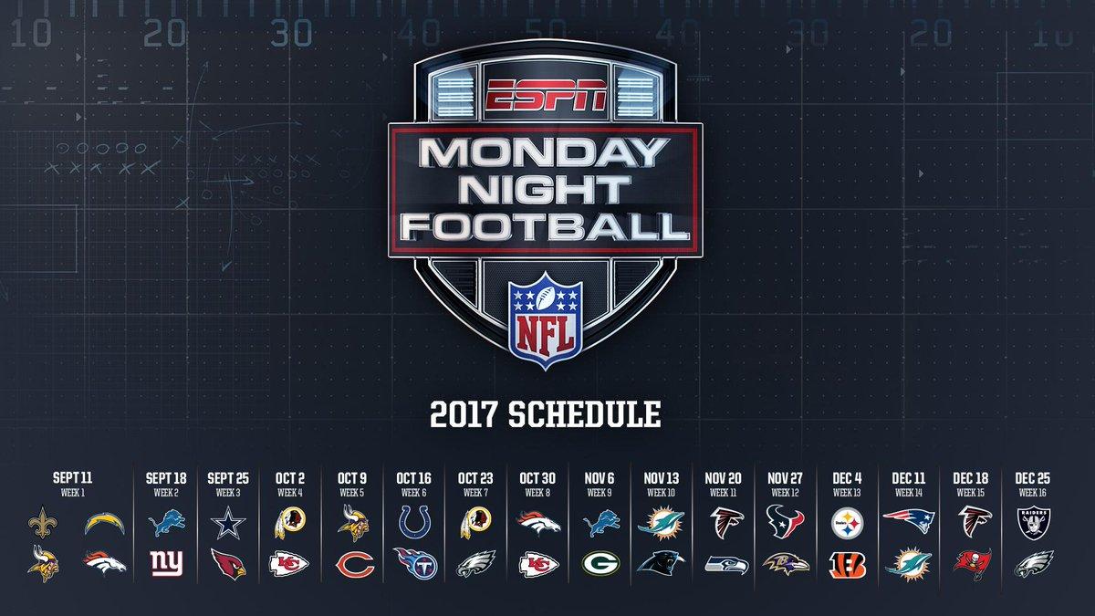 The 2017 monday night football schedule is here ...