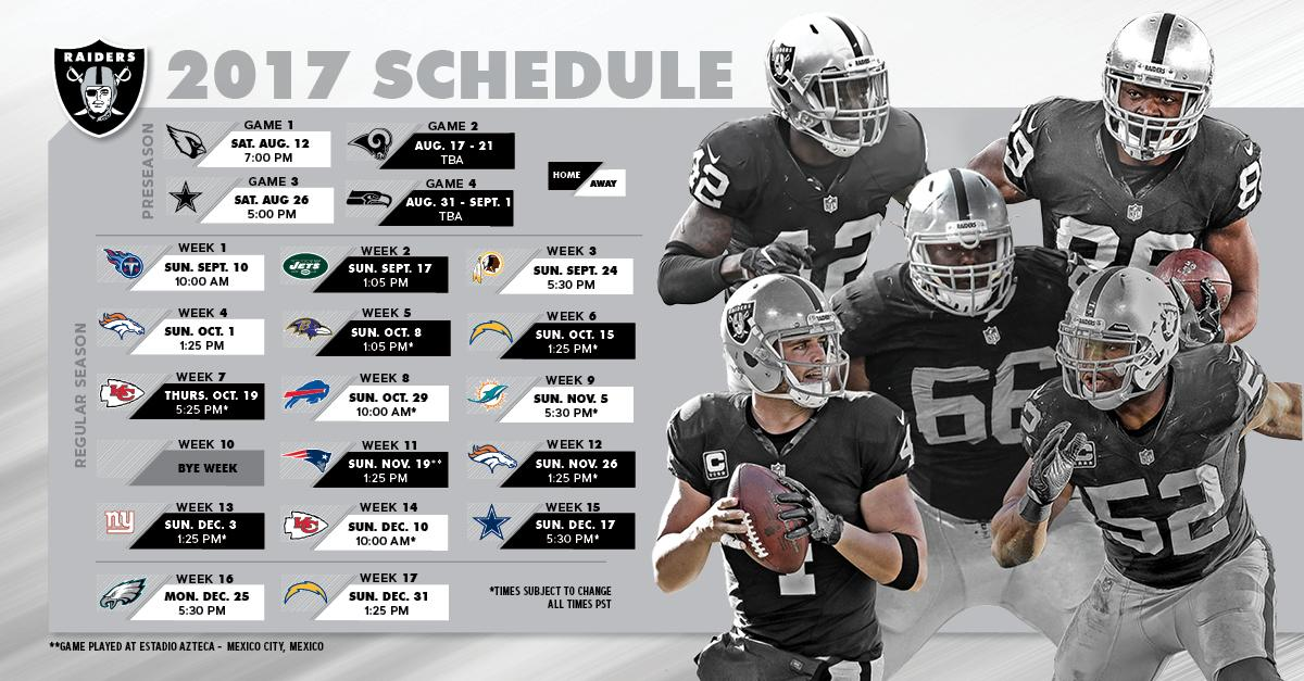Here it is #RaiderNation.  The official 2017 season schedule: https://t.co/0KfsRk2Oj3 https://t.co/syhsCHaKBd