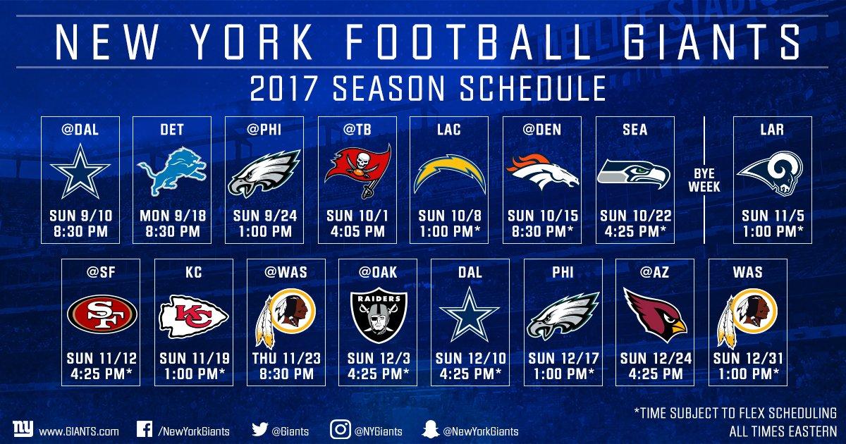 Your 2017 #NYGiants schedule! 143 days until Big Blue takes on the Cowboys! ��  DETAILS: https://t.co/wevChyvi6P https://t.co/uu6Gpyz9zT