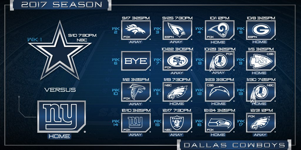 Here's your 2017 #DallasCowboys schedule, what game are you most excited for?   Details: https://t.co/xZq8FRmiQc https://t.co/OIUYwBMVrq