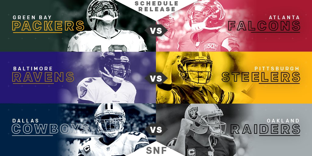 Sunday. Night. Football.  Can't. Wait! FULL #SNF SCHEDULE: https://t.co/YM22iPtXA3 #NFLSchedule https://t.co/8N4RPFWb2Q