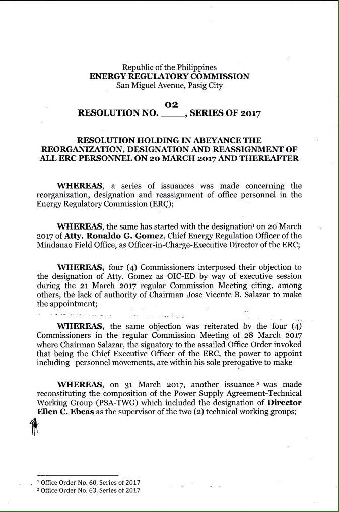 Read Reso Suspending Erc Davao City Chief Ronaldo Gomez As Oic And