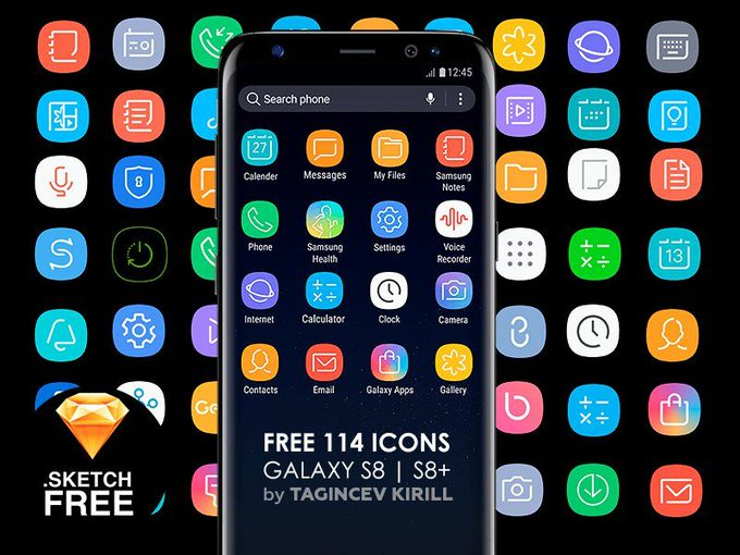 Icons for Galaxy S8 & S8+   Icons by tagincev_kl freebie