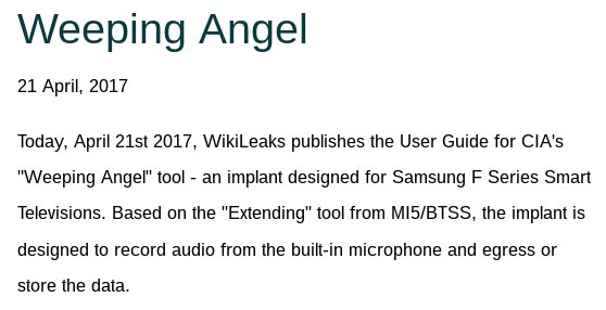 RELEASE: MI5/CIA's smart TV malware bug manual classified UK EYES ONLY SECRET STRAP 2 #Vault7 https://t.co/OO59OGbrgx