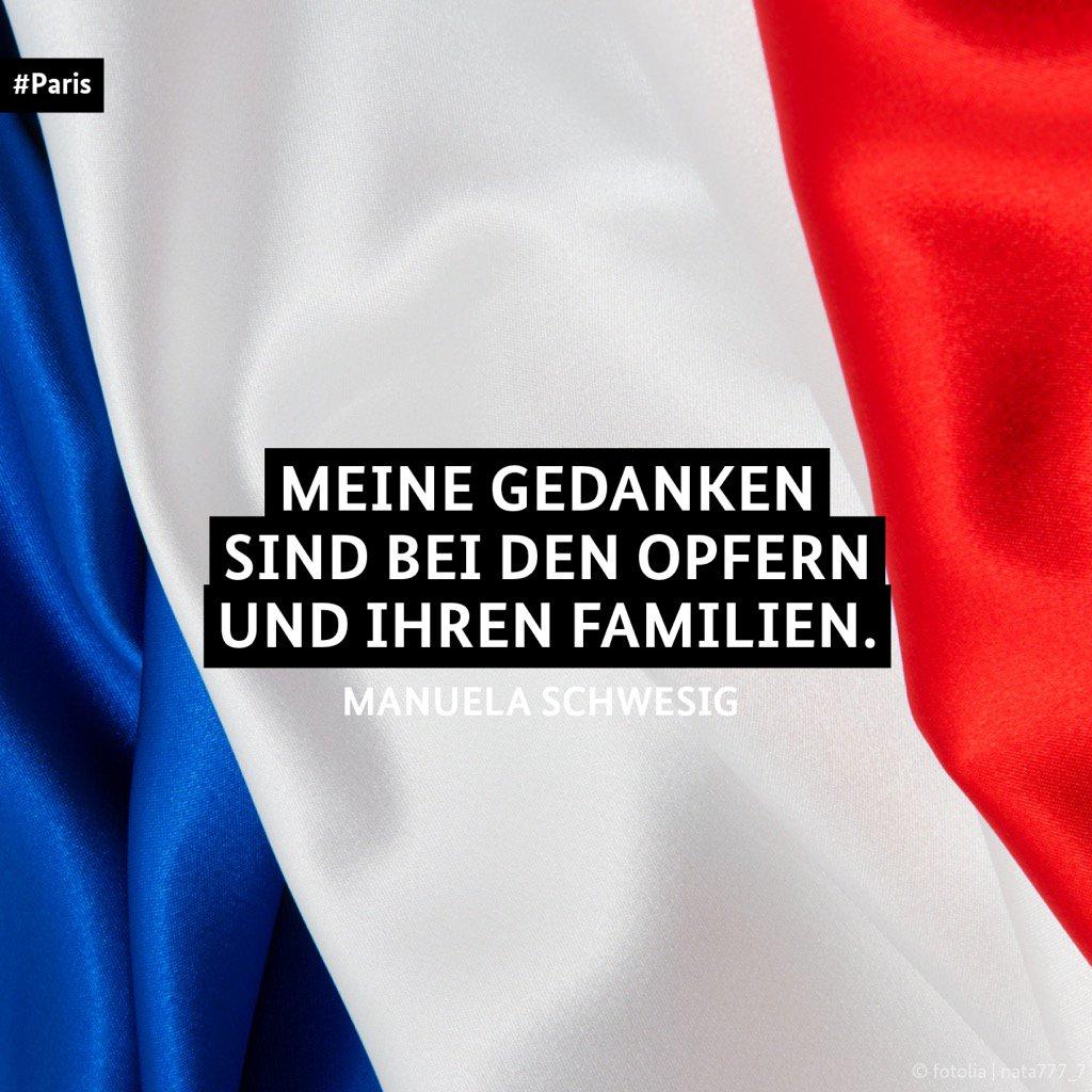 RT @ManuelaSchwesig: Nach dem Attentat in #Paris sind meine Gedanken bei unseren französischen Freunden. https://t.co/AvKm5xOHzV