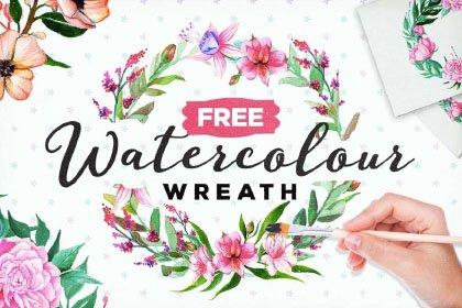 Free Watercolor Floral Wreath Freebies FreeResources FreeDownload