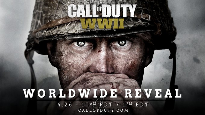 WWII confirmed. Watch the worldwide reveal of #CODWWII on 4/26 at 10AM PDT/1PM EDT: https://t.co/JtAxQQV4zN