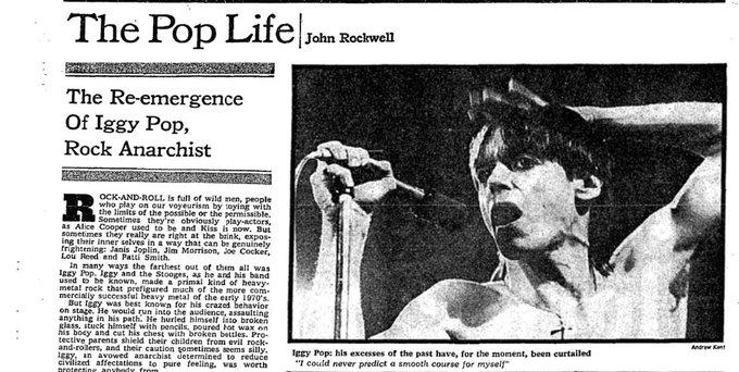 "Happy 70th birthday Iggy Pop! A 1977 NYT profile called him a \""rock anarchist\"":"
