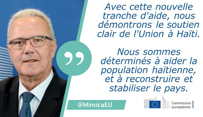 #Haiti: le Commissaire au Développement @MimicaEU annonce une aide supplémentaire de près de 65 millions d'euros pour l'île.
