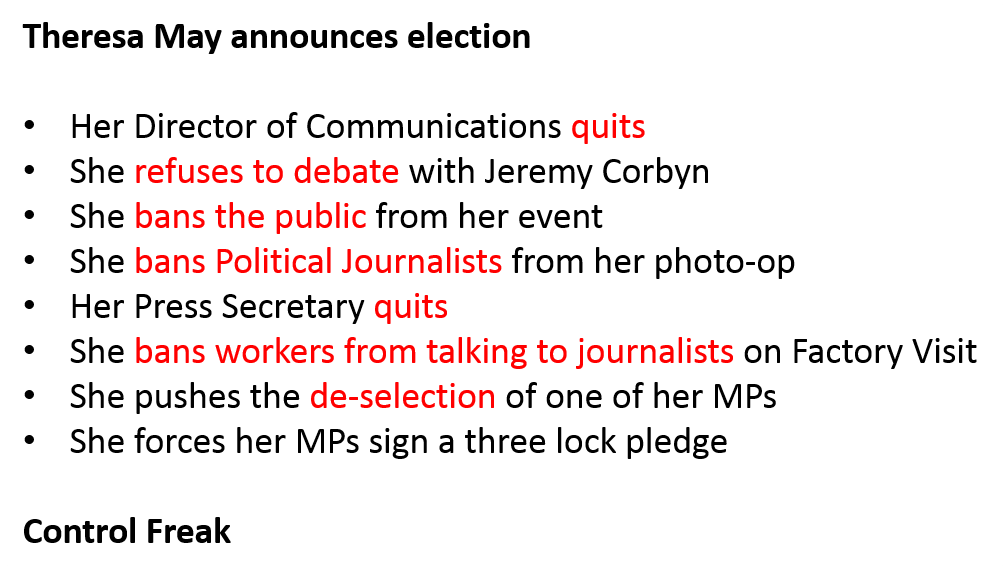 Theresa May's last 4 days have been one giant freak show. Now, all we need is a journalist who will report it. See here: https://t.co/yYEg2xL6rn