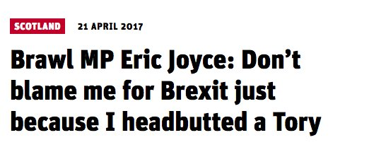 Looking forward to a 3 day twitter debate about whether it's ethical to headbutt a Tory if it'll trigger Brexit https://t.co/h87eda6icS