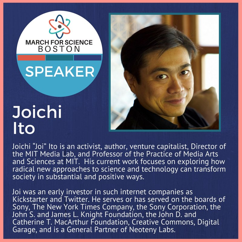 Media Lab director @Joi is giving the closing remarks at tomorrow's #MarchForScienceBoston! https://t.co/ZP1OTPOr0f #ScienceMarch
