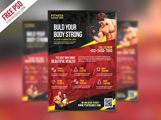 Fitness and Gym Flyer PSD Template Flyers Print freepsd psd freebie download