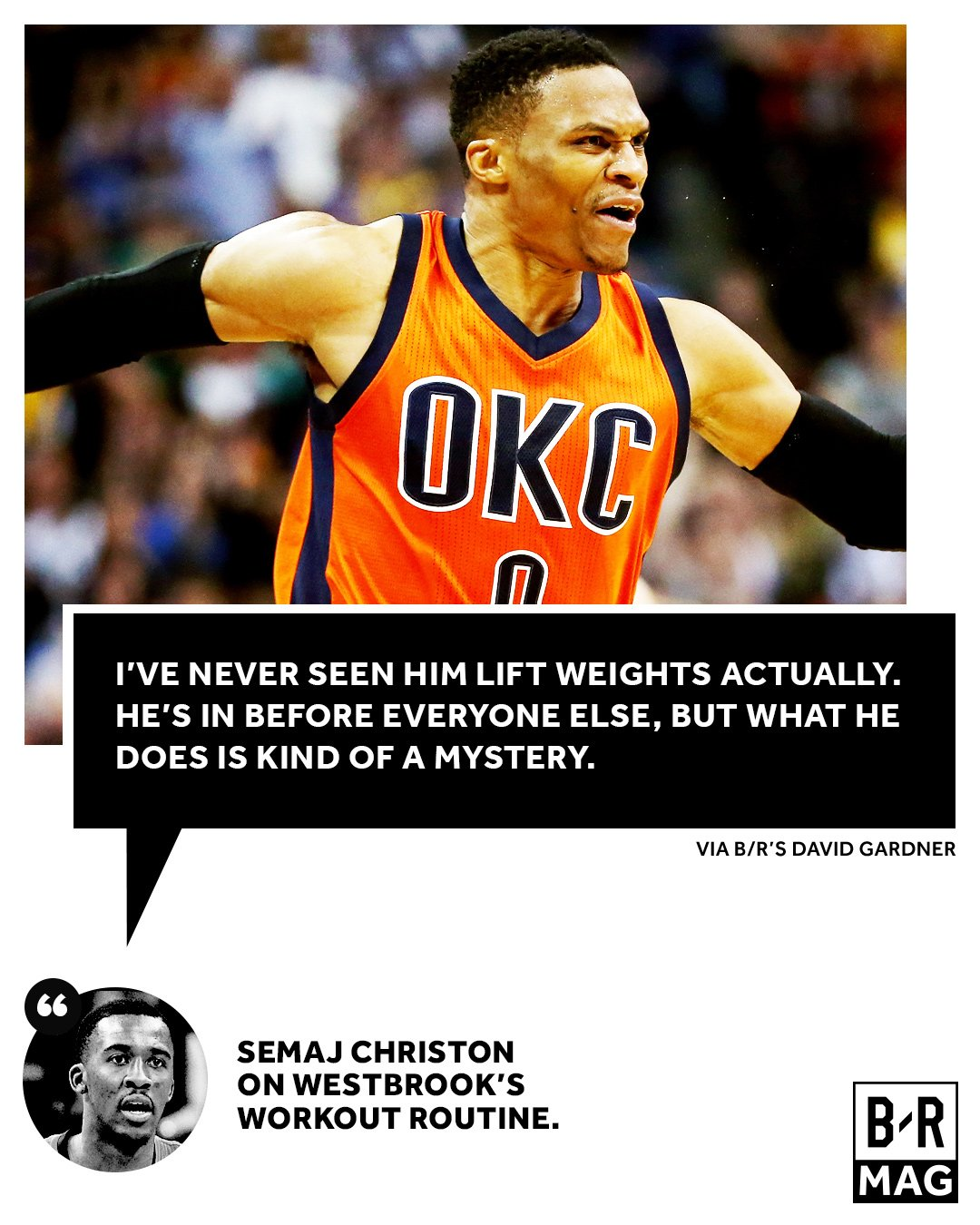 Not even Westbrook's teammates can fully understand the secret behind his physique #BRmag https://t.co/m2dpzdS5dk https://t.co/cfnsqyiKL4