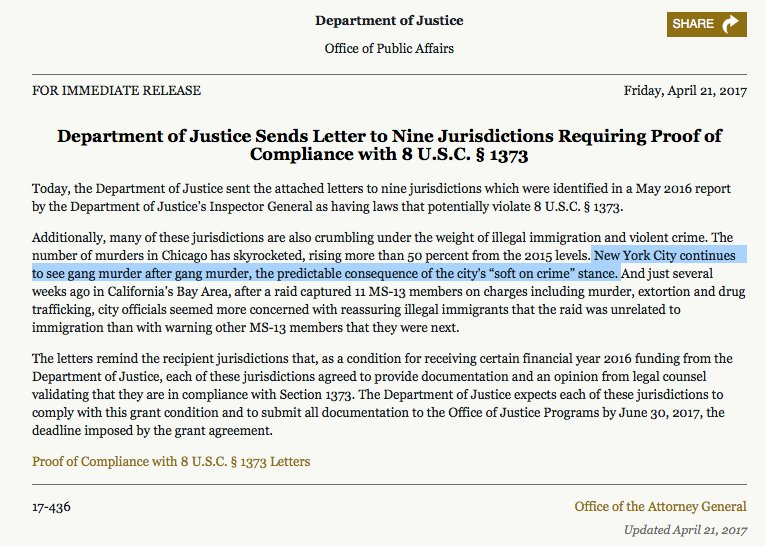 Is Sessions personally writing DOJ's press releases? (NYC homicides also hit record lows last year.) https://t.co/LoAIj3fs7q
