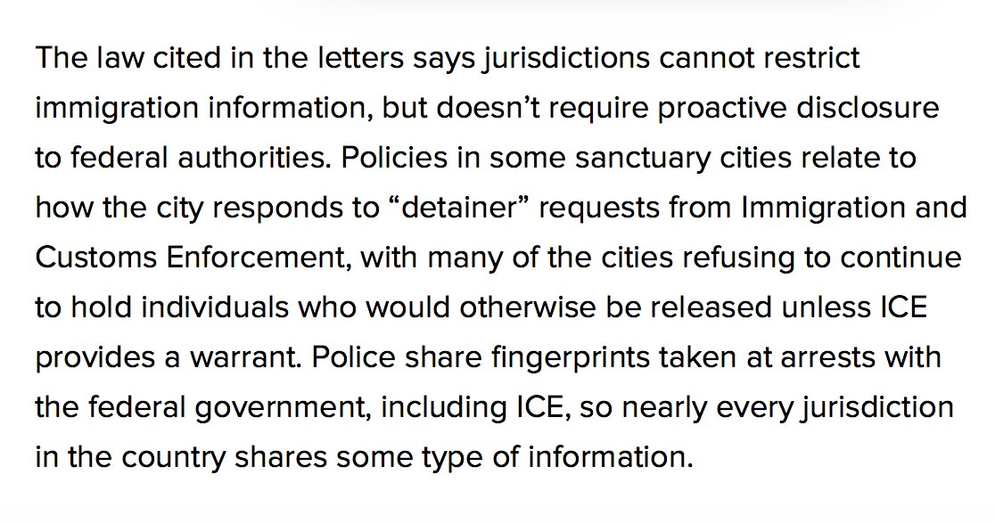 "The law DOJ cites ""doesn't require proactive disclosure [of immigration information] to federal authorities,"" per @ryanjreilly's report."