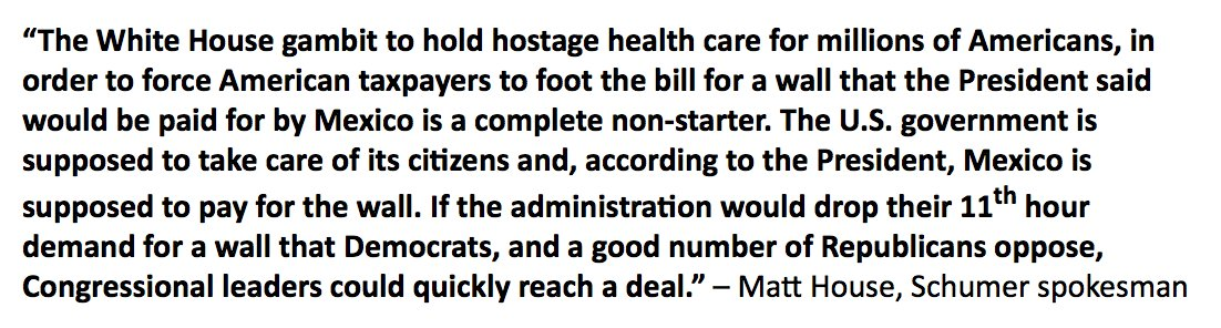 Schumer spox @mattwhouse statement on Mulvaney's comments https://t.co/FTJP8Fad8B