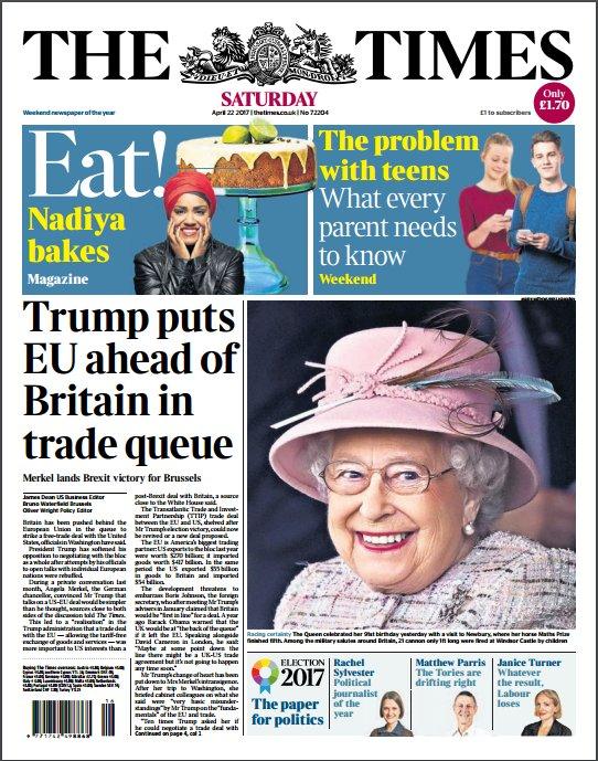 Tomorrow's Times front page: Trump puts EU ahead of Britain in trade queue https://t.co/Y0JR5p8ENh
