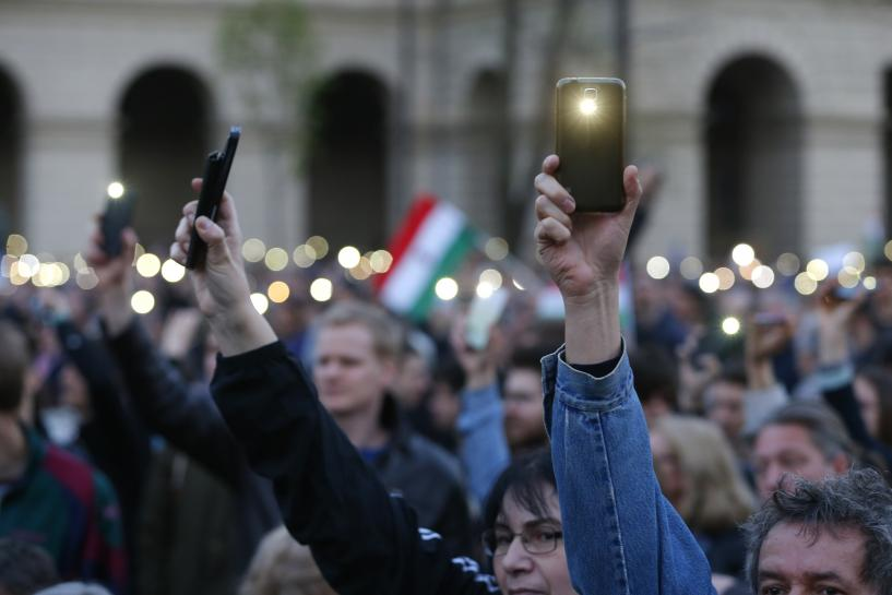 Massive protest in Hungary against bill that could oust Soros university