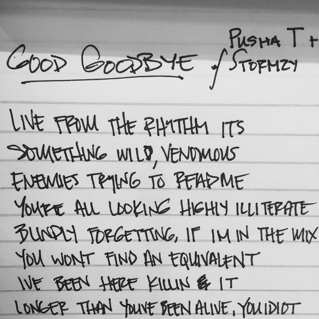 #GoodGoodbye lyric premiere on @Genius: https://t.co/5NrJQV8ich @PUSHA_T @Stormzy1 https://t.co/1aSFCN1bdF