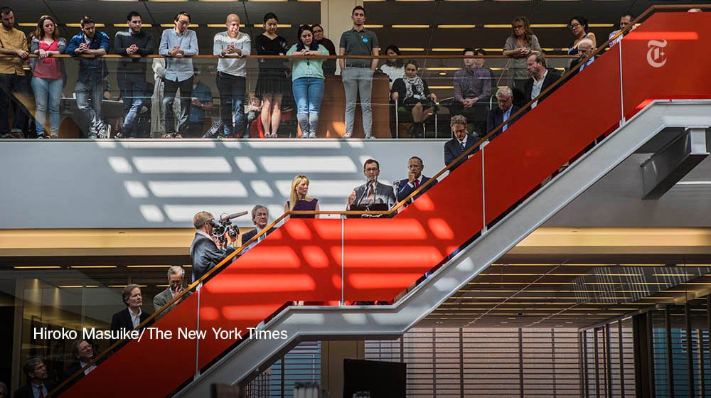 Inside the NYT newsroom during the 2017 Pulitzer Prize announcements on Monday. The winners: