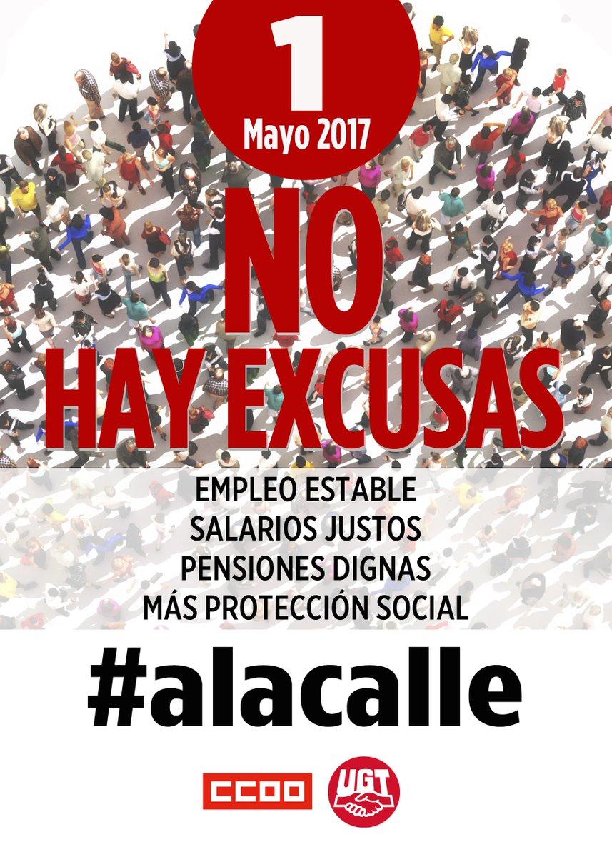 RT @UGT_Comunica: #1Mayo2017 Empleo estable Salarios justos Pensiones dignas Más protección social #alacalle https://t.co/3DhmC4SI2m