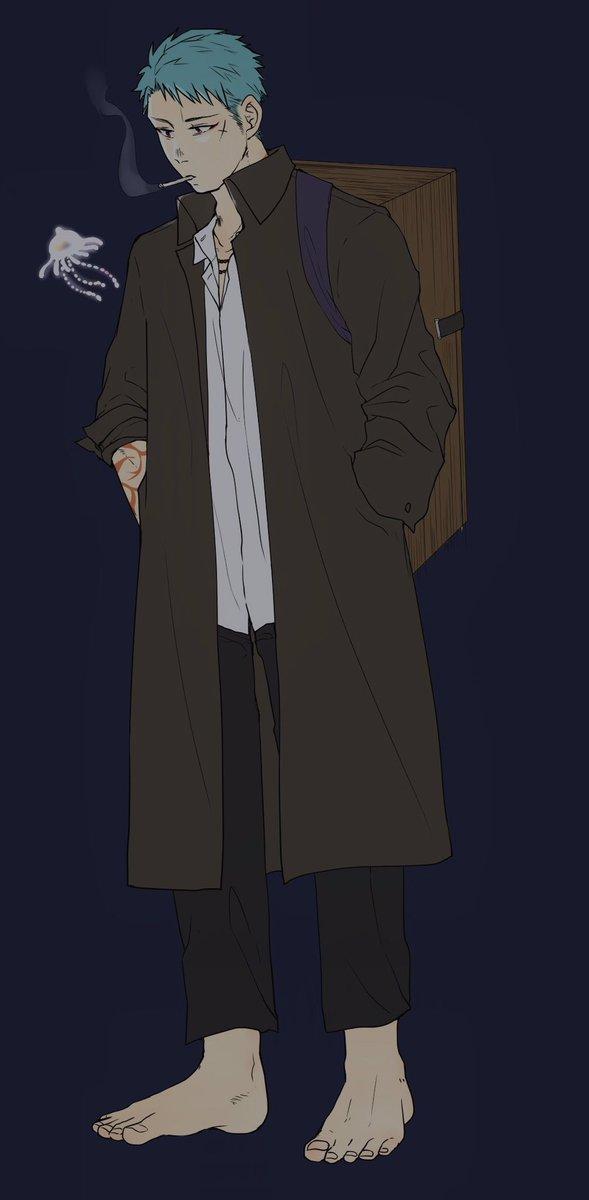 この前呟いた蟲師山伏さん落書き。服装がギンコさんバージョン。