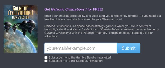 Get Galactic Civilizations I for FREE! humblebundle freebie