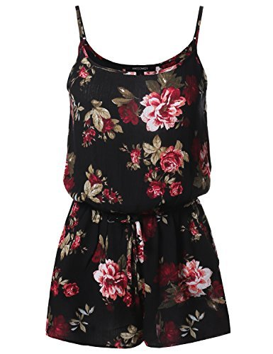 #fashion #free #style #win #giveaway Floral Print Elastic Waistband Romper Black Burgundy Size M #rt