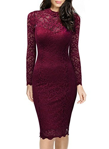 #fashion #free #style #win #giveaway MIUSOL Women's Classicial Floral Lace Long Sleeve Slim Formal Mini Dress Wine Medium, Wine, Medium #rt