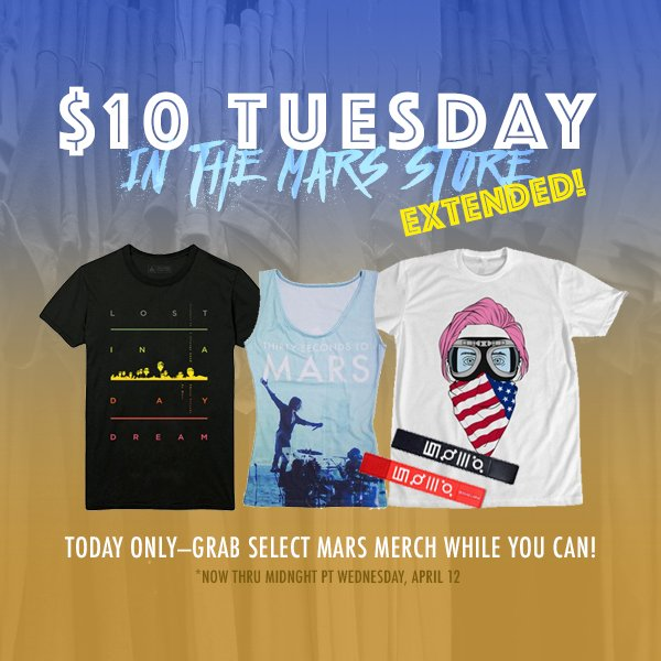 RT @MARSStore: $10 Tuesday EXTENDED! Additional #MarsMerch available, now thru midnight PT: https://t.co/mZGujSZs0y https://t.co/h3ul9a54P7
