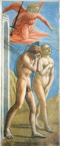 マザッチョの『楽園追放』が、「チケットをご用意することができませんでした」と言われて嘆き悲しむオタク×2に見えてしまう木