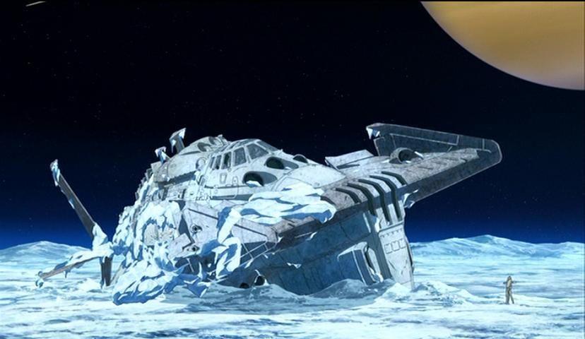 #土星の衛星 #エンケラドス で地球防衛軍の「ゆきかぜ」(by #yamato2199 )が不時着しているのを古代が発見