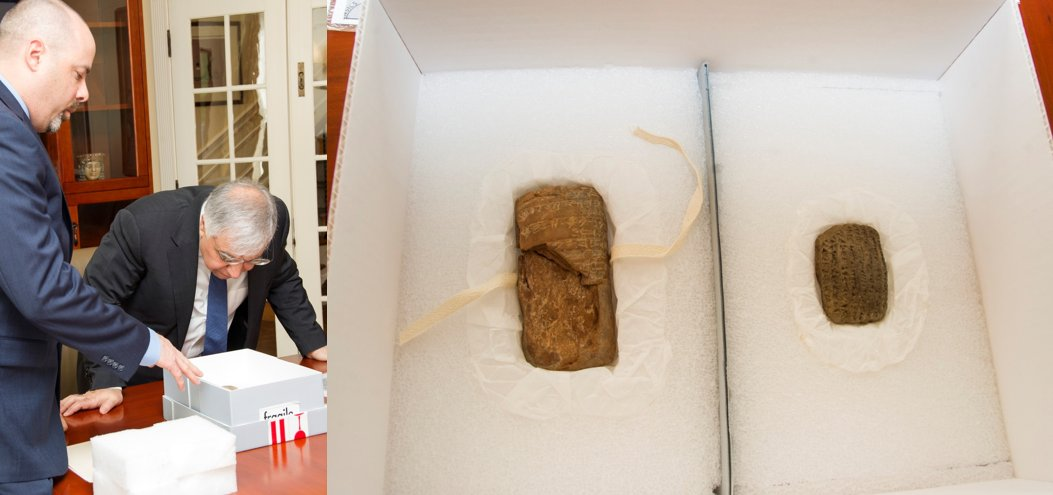 This week, the #FBI repatriated two recovered cuneiform tablets to the Iraqi Embassy in D.C.