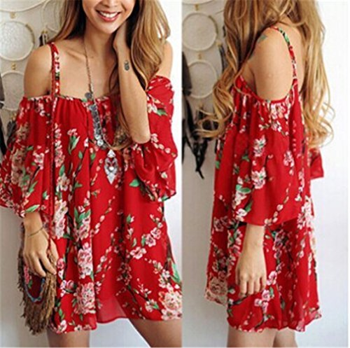#fashion #free #style #win #giveaway UNKE Women Chiffon Skirt Sling Off-shoulder Dress Gown Dress Summer Red Print #rt