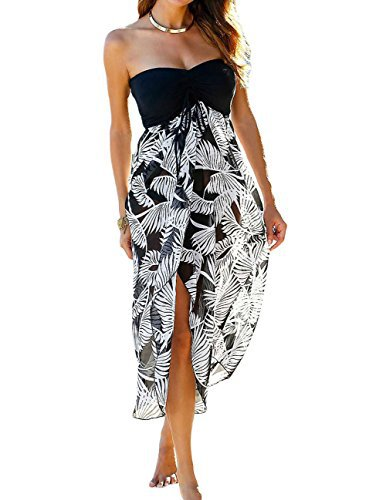 #fashion #free #style #win #giveaway LittleLittleSky Womens Black White Printed Sheer Chiffon Skirt Cover-Ups One Piece Swimwear Beach Dresses ((US 12-14)L, Black White) #rt