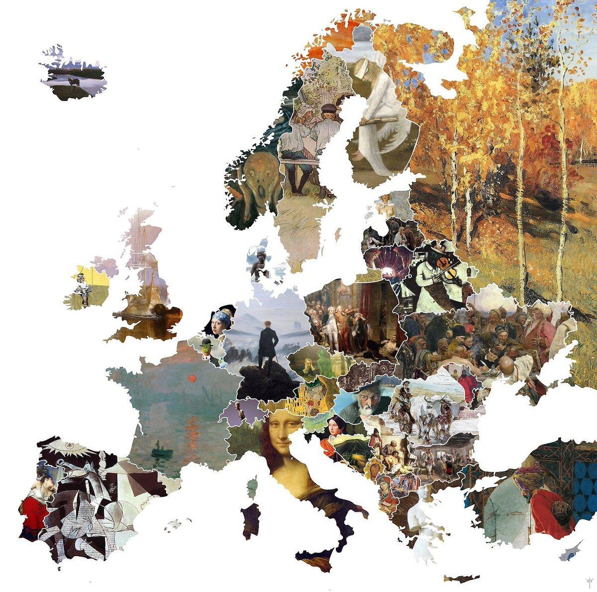 Mapa de Europa con el cuadro más famoso de cada país.