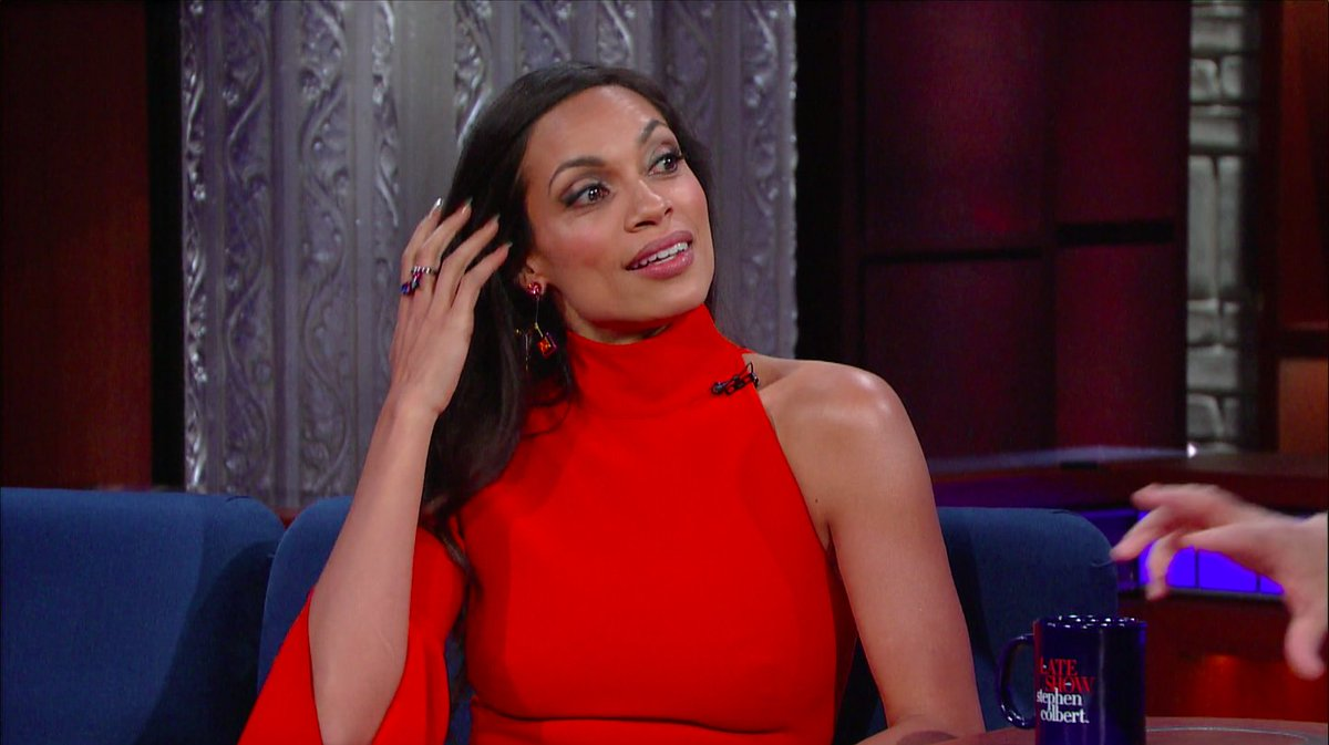 RT @colbertlateshow: .@rosariodawson rocking the purple earrings to honor the late, great #Prince #LSSC https://t.co/wKt932mGaw