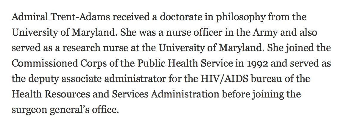 Trump forced a good Surgeon General to resign. His deputy, nurse Sylvia Trent-Adams, has replaced him for now. https://t.co/iMBafuFDtD