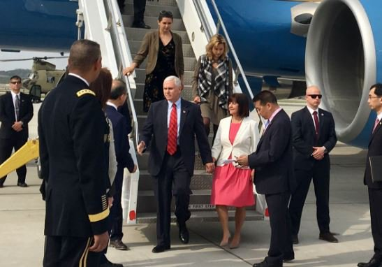 Mike Pence arrives in South Korea, attends wreath-laying ceremony and Easter Sunday services