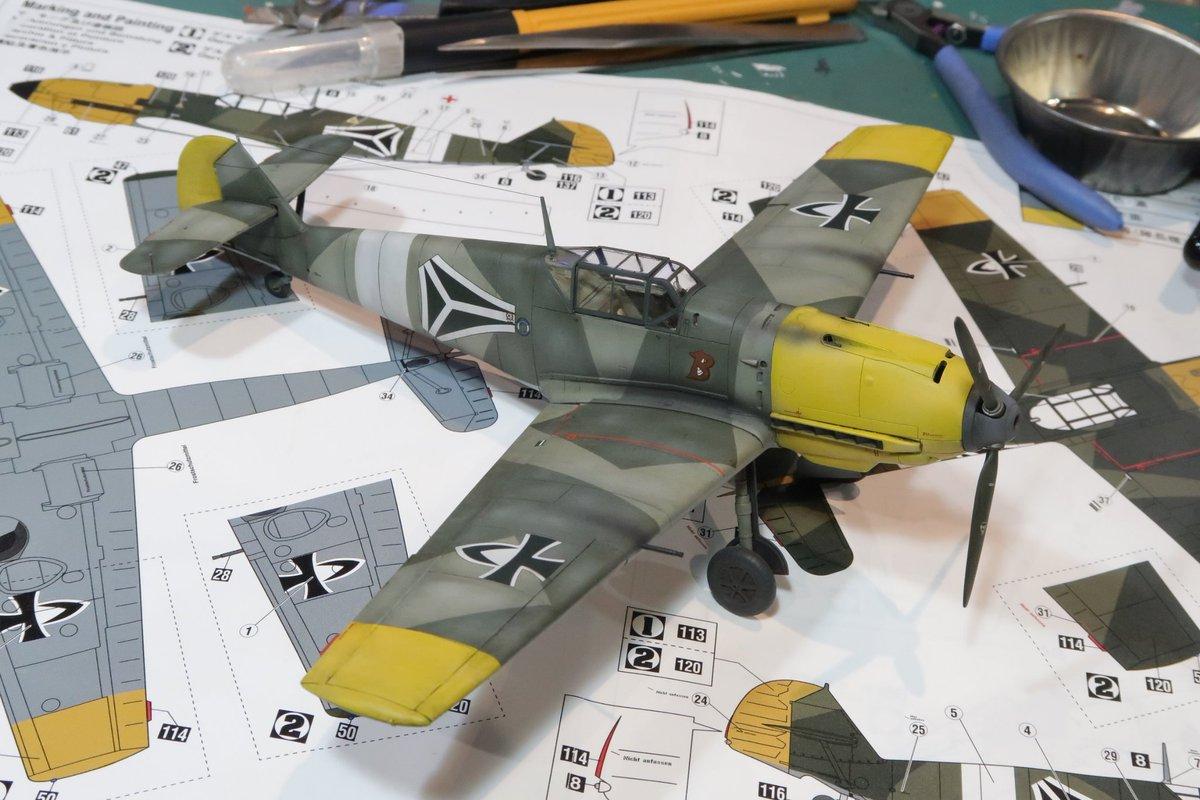 終末のイゼッタ、Bf109バスラー大尉機完成~(^_^)。そのうちちゃんと撮影しないとな~。