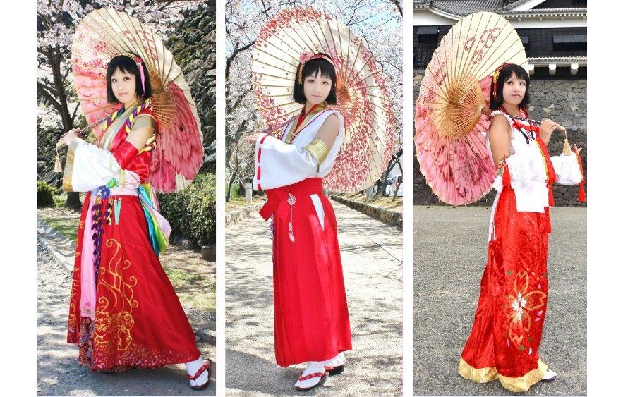 桜の季節が来るたびに阿国のコスプレ毎年してきたけど、シリーズごとの衣装を揃えることができて満足^ ^#コスプレ#コスプレ